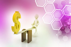 3d man balancing with dollar sign Royalty Free Stock Photo