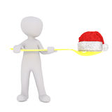 3d man balancing a Santa hat on a spoon. 3d man standing balancing a colorful red Christmas Santa hat on a golden yellow spoon, isolated rendered illustration on Stock Images