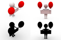 3d man banner with balloon concept collections with alpha and shadow channel Stock Photos