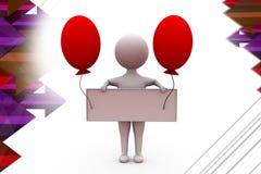 3d man banner with balloon  illustration Stock Photos