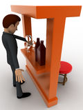3d man in bar with alchohol bottels and glasses concept Royalty Free Stock Images