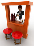 3d man in bar with alchohol bottels and glasses concept Royalty Free Stock Photography
