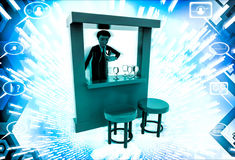 3d man in bar with alchohol bottels and glasses illustration Stock Photos
