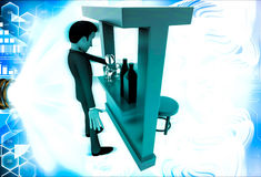 3d man in bar with alchohol bottels and glasses illustration Stock Images