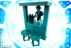 3d man in bar with alchohol bottels and glasses illustration Royalty Free Stock Images