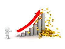 3D Man, bar chart, and gold coins Royalty Free Stock Image