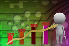 3d man with  bar graph with arrow Royalty Free Stock Photo