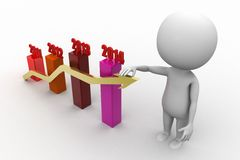 3d man with  bar graph with arrow Royalty Free Stock Photography
