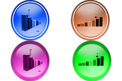 3d man on bar graph icon Royalty Free Stock Photography