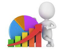 3d man with bar graph and pie chart Stock Photo