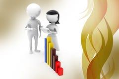 3d man bar growth  illustration Stock Image