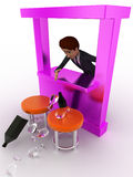 3d man at bar try to catch falling alchohol bottle and glass concept Royalty Free Stock Photo