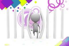 3d man bars illustration Stock Image