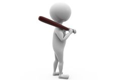 3d man baseball bat concept Stock Photography