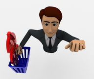 3d man with basket and dollar symbol concept Stock Photo