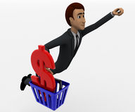 3d man with basket and dollar symbol concept Royalty Free Stock Photography