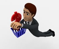3d man with basket and dollar symbol concept Stock Image