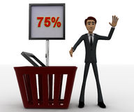 3d man with basket and 75 percentage board in it concept Stock Photos