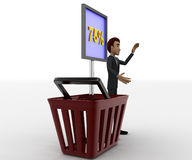 3d man with basket and 75 percentage board in it concept Royalty Free Stock Photos