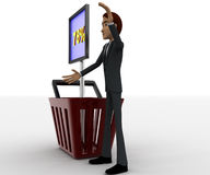 3d man with basket and 75 percentage board in it concept Stock Images