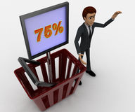 3d man with basket and 75 percentage board in it concept Royalty Free Stock Photography