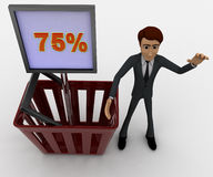 3d man with basket and 75 percentage board in it concept Royalty Free Stock Photo