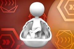 3d man in bath tub illustration Stock Images