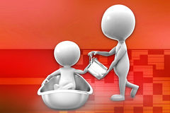 3d man bath tub illustration Stock Photos