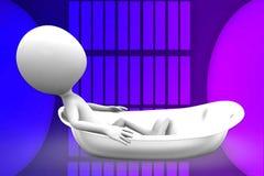 3d man in bath tub illustration Stock Image