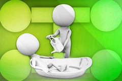 3d man in bath tub illustration Royalty Free Stock Photography