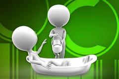 3d man bath tub illustration Royalty Free Stock Images