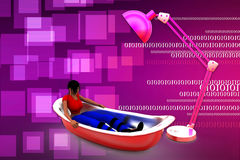 3d man bath tub and light illustration Royalty Free Stock Images