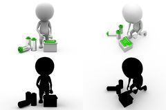 3d man battery Concept Collections With Alpha And Shadow Channel Stock Image