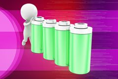 3d man battery illustration Royalty Free Stock Image