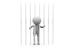 3d man behind bars concept Stock Images