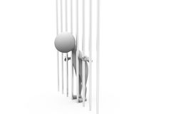 3d man behind bars concept Stock Image