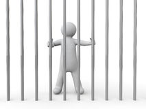 3d man behind bars. 3d render of a man behind bars Royalty Free Stock Image