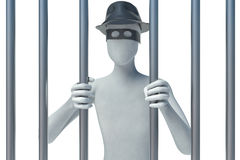 3d man behind bars. On white Stock Image