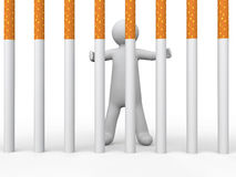 3d man behind cigarette bars. 3d render of a man behind cigarette bars Royalty Free Stock Images