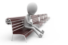 3d man on bench alone concept Stock Photography