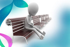 3d man on bench alone  illustration Stock Photography