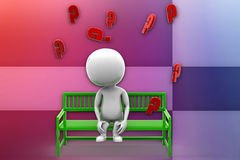 3d man bench question mark illustration Royalty Free Stock Photo