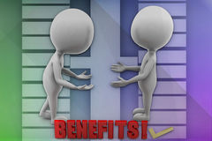 3D man benefits illustration Royalty Free Stock Image