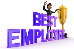 3d man with BEST EMPLOYEE and golden cup of winner concept Royalty Free Stock Photography