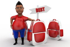 3d man with best school bag concept Stock Images