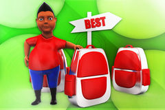 3d man with best school bag illustration Stock Photos