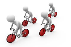 3d man bicycle race concept Stock Images