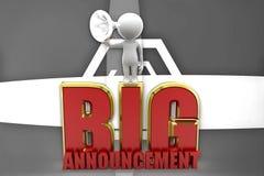 3d man big announcement illustration Royalty Free Stock Image