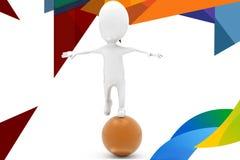 3d man on big ball  illustration Royalty Free Stock Photos