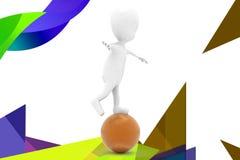 3d man on big ball  illustration Stock Photo